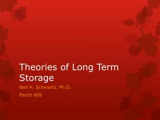 Theories of Long Term Storage