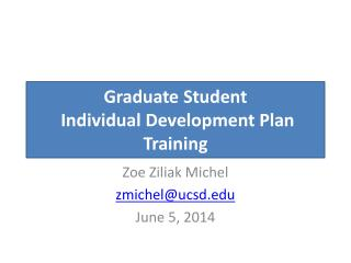 Graduate Student  Individual Development Plan Training