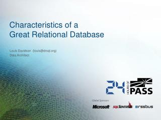Characteristics of a  Great Relational Database