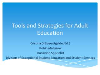 Tools and Strategies for Adult Education
