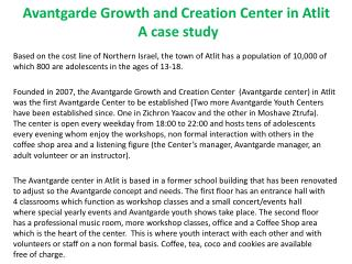 Avantgarde Growth and Creation Center in Atlit  A case study