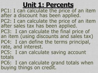 Unit 1: Percents