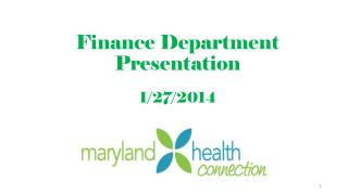 Finance Department Presentation 1/27/2014