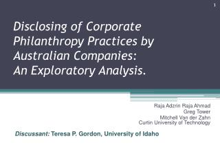 Disclosing of Corporate Philanthropy Practices by Australian Companies:  An  Exploratory Analysis.