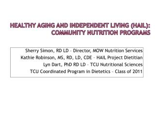 Healthy Aging and Independent Living (HAIL): Community Nutrition Programs