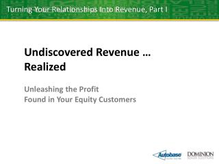 Undiscovered Revenue … Realized Unleashing the Profit Found in Your Equity Customers