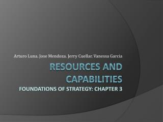Resources and  Capabilities Foundations of strategy: Chapter 3