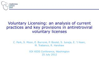 Voluntary Licensing: an analysis of current practices and key provisions in antiretroviral voluntary licenses