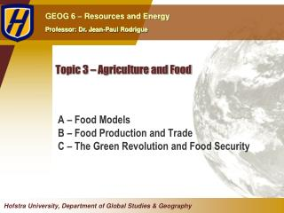 Topic 3 – Agriculture and Food