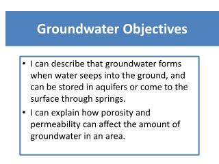 Groundwater Objectives
