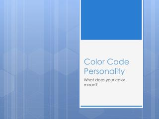 Color Code Personality