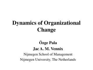 dynamics of organizational change
