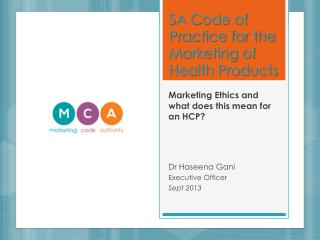 SA Code of Practice for the Marketing of Health Products