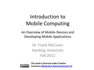 Introduction to  Mobile Computing