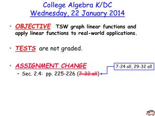 College Algebra  K /DC Wednesday ,  22  January  2014