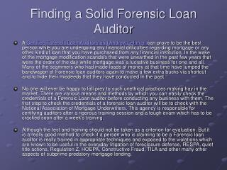 finding a solid forensic loan auditor