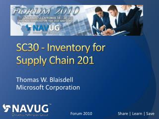 SC30 - Inventory  for Supply Chain 201