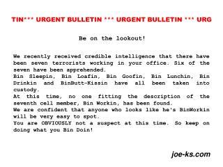 tin urgent bulletin  urgent bulletin  urg