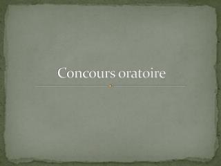 Concours oratoire
