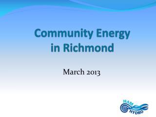 Community Energy in Richmond