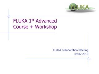 FLUKA 1 st  Advanced Course + Workshop