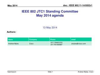 IEEE 802 JTC1 Standing Committee May 2014 agenda