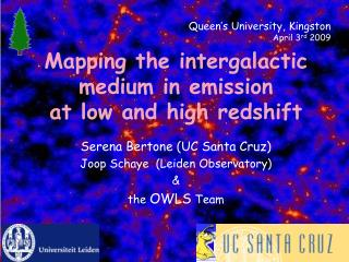 Mapping the intergalactic medium in emission at low and high  redshift