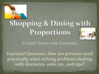 Shopping & Dining with Proportions