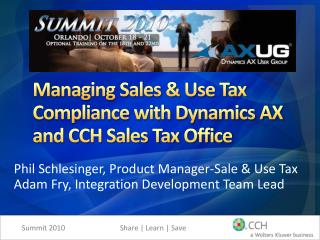 Managing Sales & Use Tax Compliance with Dynamics AX and CCH Sales Tax Office