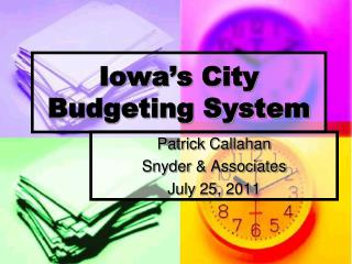 Iowa's  City Budgeting System
