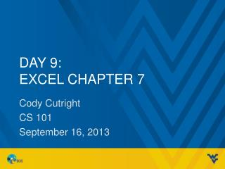 Day 9: Excel Chapter 7
