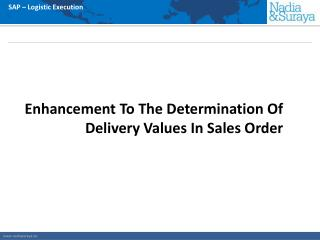 Enhancement To The Determination Of Delivery Values In Sales Order