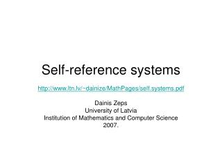 Self-reference Systems. ppt