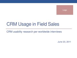 CRM Usage in Field  S ales
