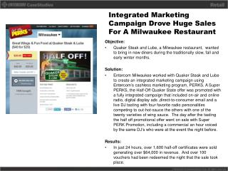 Integrated  Marketing Campaign Drove Huge Sales  For A  Milwaukee Restaurant