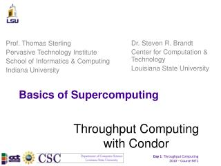 Basics of Supercomputing