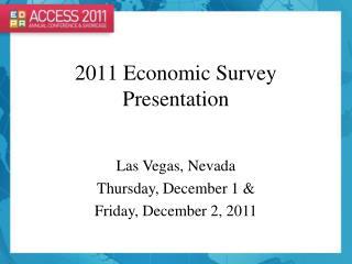 2011 Economic Survey Presentation