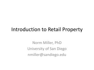 Introduction to Retail Property