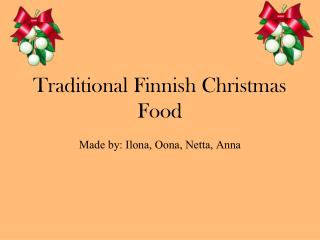 Traditional Finnish Christmas  Food