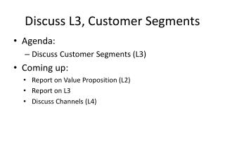 Discuss L3, Customer Segments