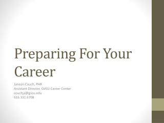 Preparing For Your Career