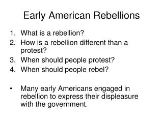 Early American Rebellions