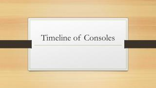 Timeline of Consoles