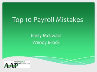 Top 10 Payroll Mistakes
