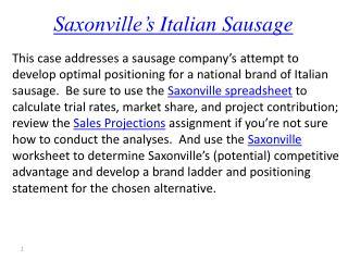 Saxonville's  Italian Sausage