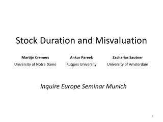 Stock Duration and Misvaluation
