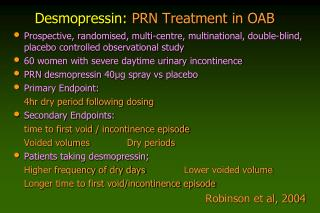 Desmopressin:  PRN Treatment in OAB