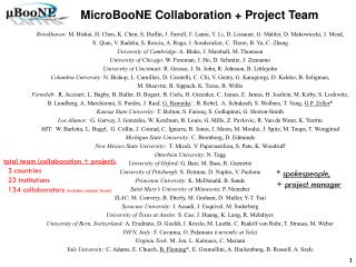 MicroBooNE  Collaboration + Project Team