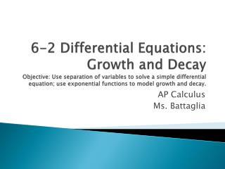AP Calculus Ms.  Battaglia