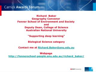 richard baker geography convenor fenner school of environment ...